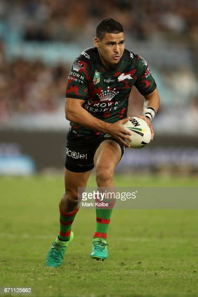 Cody Walker of the Rabbitohs runs the ball during the round eight NRL match between the South Sydney Rabbitohs and the Brisbane Broncos at ANZ...