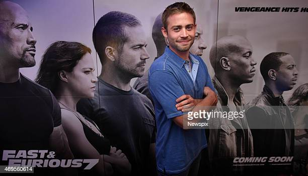 Cody Walker unveils a giant mosaic plaque dedicated to his late brother American actor Paul Walker at United Cinemas in Craigieburn New South Wales...