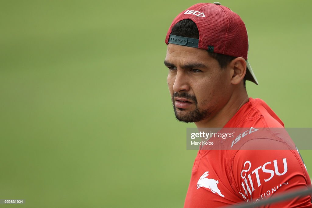 Cody Walker watches on during a South Sydney Rabbitohs NRL training session at Redfern Oval on March 21, 2017 in Sydney, Australia.