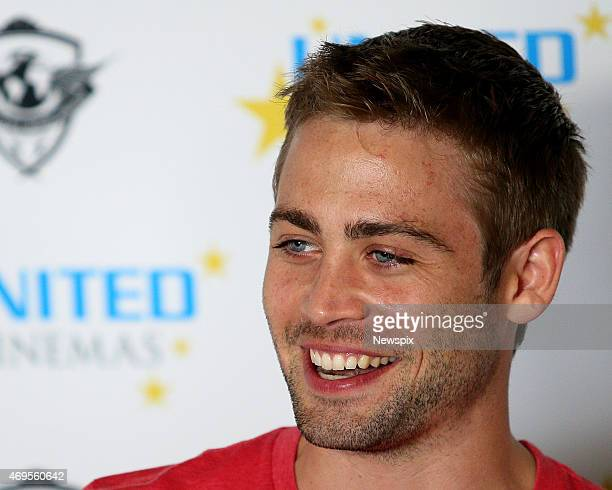 Cody Walker younger brother of the late American actor Paul Walker speaks during a press conference at Bellagio by the Sea Collaroy in Sydney New...