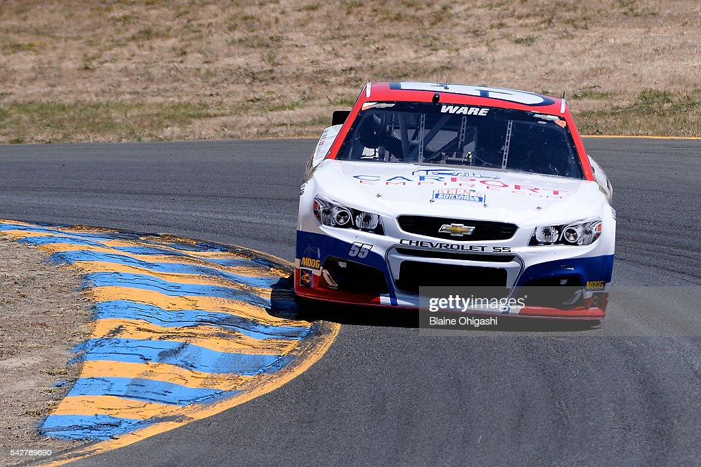 Cody Ware, driver of the #55 CarPort Empire Chevrolet, practices for the NASCAR Sprint Cup Series Toyota/Save Mart 350 at Sonoma Raceway on June 24, 2016 in Sonoma, California.