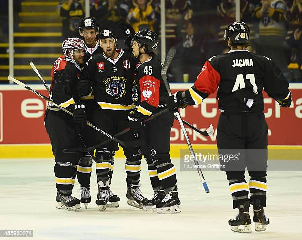 Cody Wild of Nottingham Panthers celebrates his early goal during the Champions Hockey League group stage game between Nottingham Panthers and...