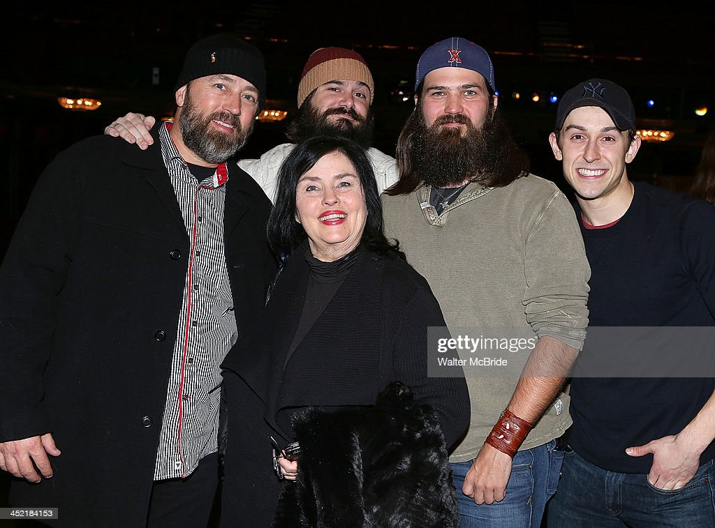 Cody Williams (R) with Alan Robertson, Vince Mancuso, Kay Robertson, and Jep Robertson from 'Duck Dynasty' backstage at 'Cinderella' On Broadway at the Broadway Theatre on November 26, 2013 in New York City.