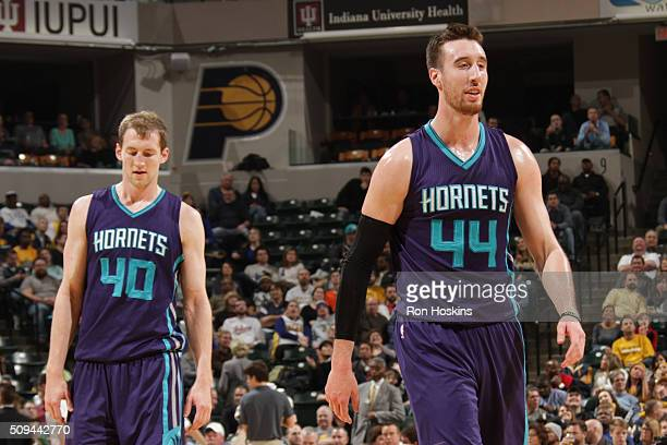 Cody Zeller and Frank Kaminsky III of the Charlotte Hornets during the game against the Indiana Pacers on February 10 2016 at Bankers Life Fieldhouse...