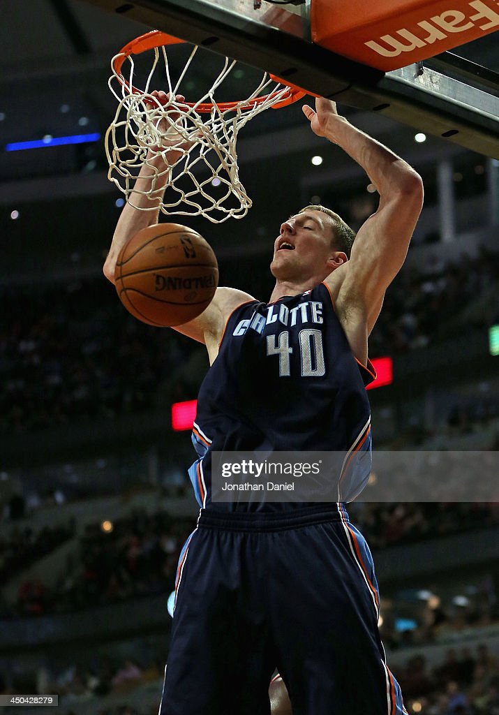 <a gi-track='captionPersonalityLinkClicked' href=/galleries/search?phrase=Cody+Zeller&family=editorial&specificpeople=7621233 ng-click='$event.stopPropagation()'>Cody Zeller</a> #40 of the Charlotte Bobcats dunks against the Chicago Bulls at the United Center on November 18, 2013 in Chicago, Illinois.