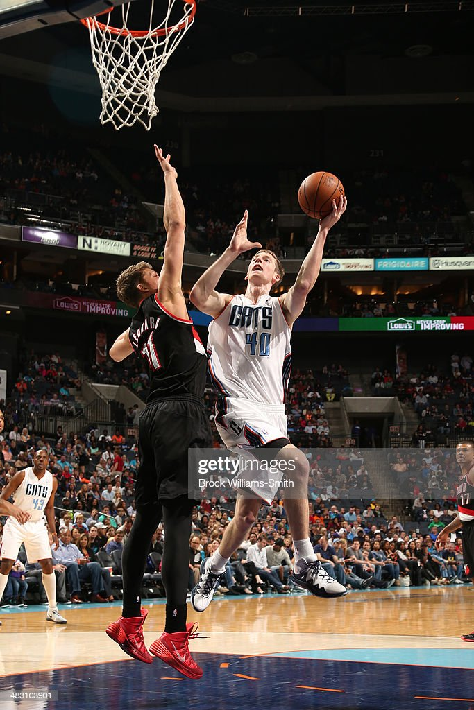 Cody Zeller #40 of the Charlotte Bobcats goes up for a shot against the Portland Trail Blazers during the game at the Time Warner Cable Arena on March 22, 2014 in Charlotte, North Carolina.