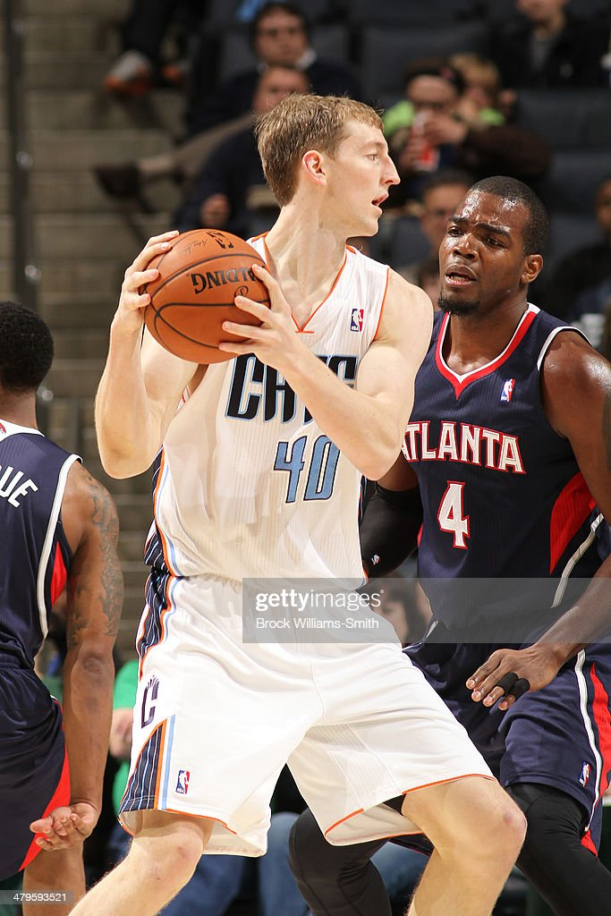 Cody Zeller #40 of the Charlotte Bobcats posts up during the game against the Atlanta Hawks at the Time Warner Cable Arena on March 17, 2014 in Charlotte, North Carolina.