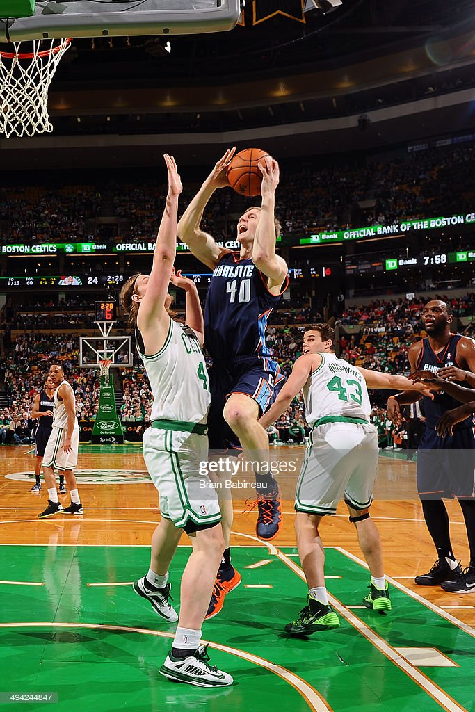 <a gi-track='captionPersonalityLinkClicked' href=/galleries/search?phrase=Cody+Zeller&family=editorial&specificpeople=7621233 ng-click='$event.stopPropagation()'>Cody Zeller</a> #40 of the Charlotte Bobcats shoots against the Boston Celtics on April 11, 2014 at the TD Garden in Boston, Massachusetts.