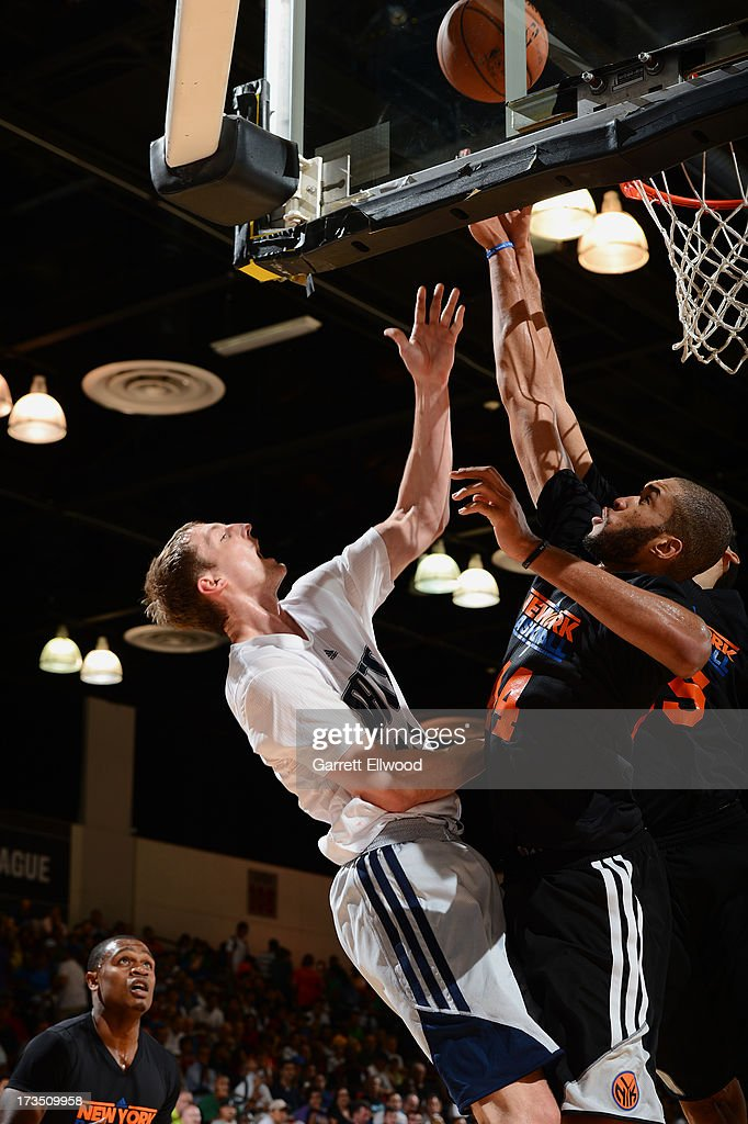 Cody Zeller #40 of the Charlotte Bobcats shoots against the New York Knicks during NBA Summer League on July 15, 2013 at the Cox Pavilion in Las Vegas, Nevada.