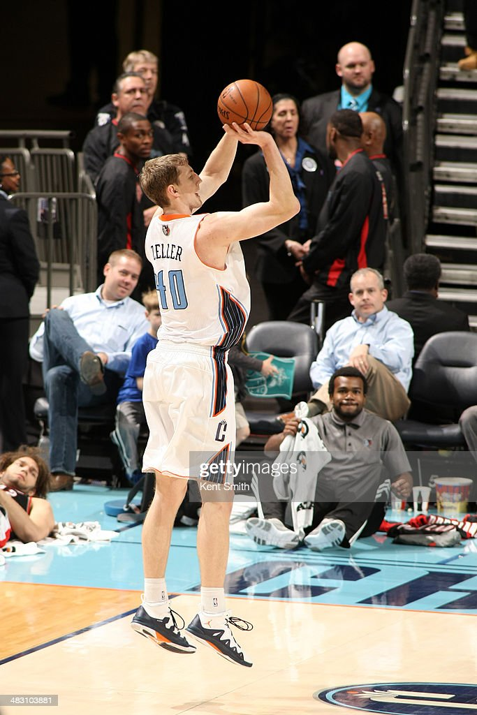 Cody Zeller #40 of the Charlotte Bobcats takes a shot against the Portland Trail Blazers during the game at the Time Warner Cable Arena on March 22, 2014 in Charlotte, North Carolina.