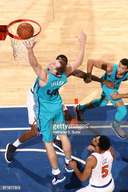 Cody Zeller of the Charlotte Hornets grabs the rebound against the New York Knicks on November 7 2017 at Madison Square Garden in New York City New...