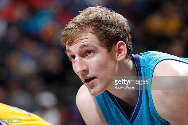 Cody Zeller of the Charlotte Hornets looks on during the game against the Los Angeles Lakers on March 3 2015 at at Time Warner Cable Arena in...