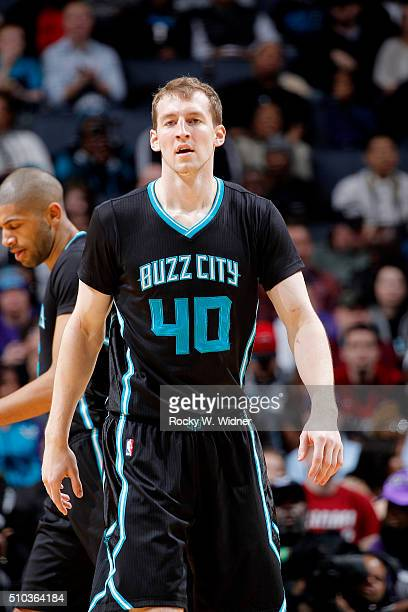 Cody Zeller of the Charlotte Hornets looks on during the game against the Miami Heat on February 5 2016 at Time Warner Cable Arena in Charlotte North...