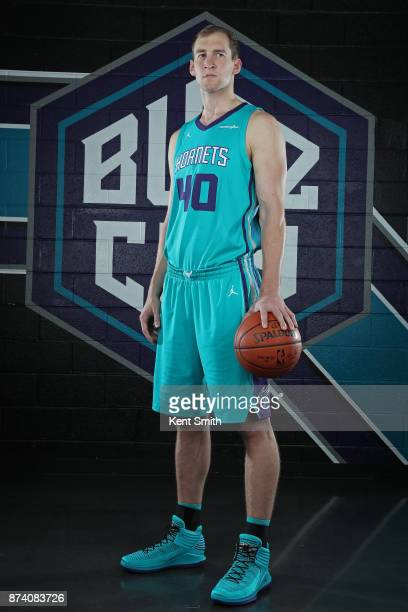 Cody Zeller of the Charlotte Hornets poses for a portrait to help announce the partnership with Lending Tree at the Spectrum Center in Charlotte...