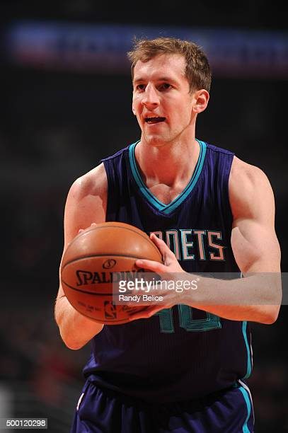 Cody Zeller of the Charlotte Hornets prepares to shoot a free throw against the Chicago Bulls on December 5 2015 at the United Center in Chicago...