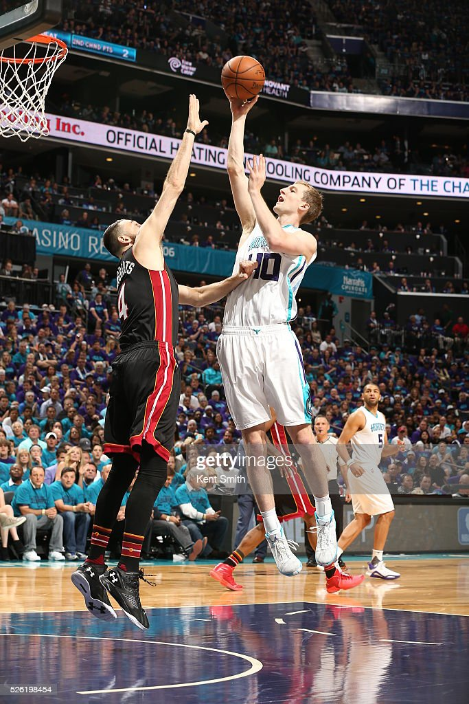 <a gi-track='captionPersonalityLinkClicked' href=/galleries/search?phrase=Cody+Zeller&family=editorial&specificpeople=7621233 ng-click='$event.stopPropagation()'>Cody Zeller</a> #40 of the Charlotte Hornets shoots against <a gi-track='captionPersonalityLinkClicked' href=/galleries/search?phrase=Josh+McRoberts&family=editorial&specificpeople=732530 ng-click='$event.stopPropagation()'>Josh McRoberts</a> #4 of the Miami Heat in Game Six of the Eastern Conference Quarterfinals during the 2016 NBA Playoffs on April 29, 2016 at Time Warner Cable Arena in Charlotte, North Carolina.