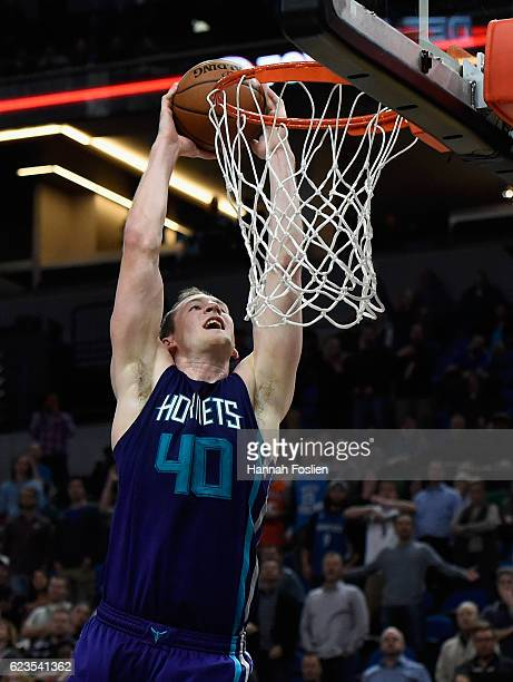 Cody Zeller of the Charlotte Hornets shoots the ball against the Minnesota Timberwolves during the fourth quarter of the game on November 15 2016 at...