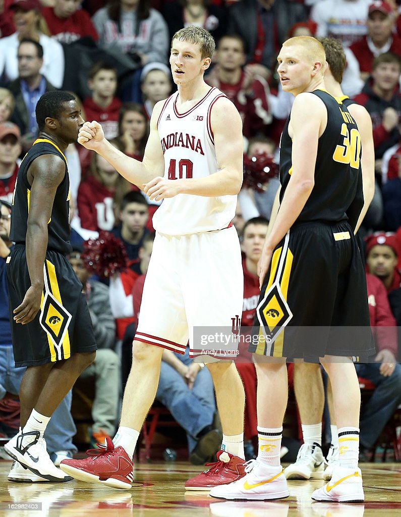 <a gi-track='captionPersonalityLinkClicked' href=/galleries/search?phrase=Cody+Zeller&family=editorial&specificpeople=7621233 ng-click='$event.stopPropagation()'>Cody Zeller</a> #40 of the Indiana Hoosiers celebrates after scoring a basket during the game against the Iowa Hawkeyes at Assembly Hall on March 2, 2013 in Bloomington, Indiana.