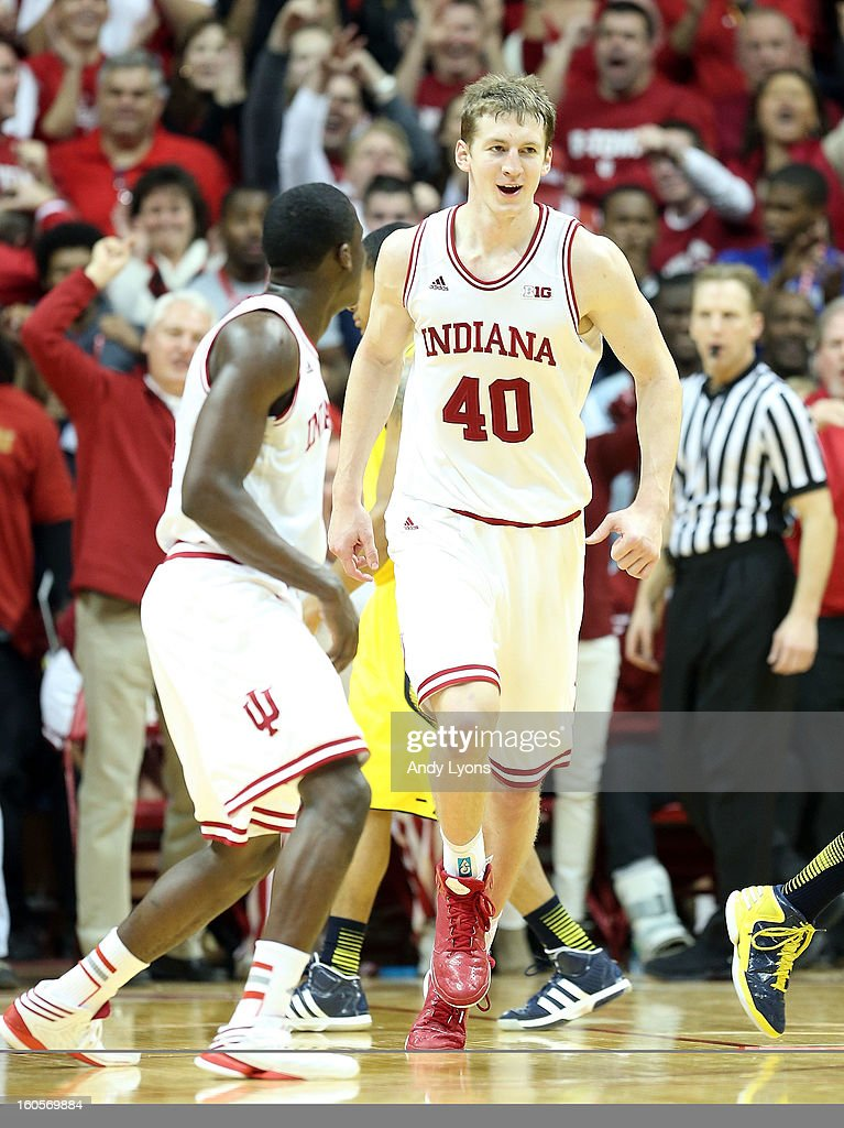 Cody Zeller #40 of the Indiana Hoosiers celebrates during the game against the Michigan Wolverines at Assembly Hall on February 2, 2013 in Bloomington, Indiana.