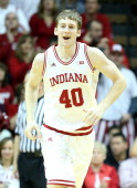 Cody Zeller of the Indiana Hoosiers celebrates during the game against the Nebraska Cornhuskers at Assembly Hall on February 13 2013 in Bloomington...
