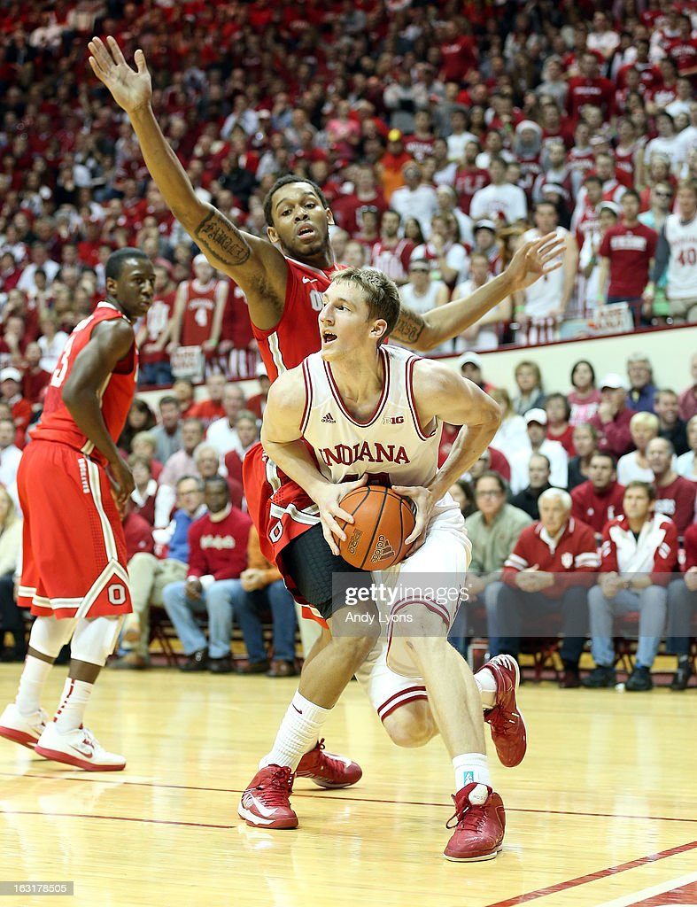 Cody Zeller #40 of the Indiana Hoosiers dribbles the ball during the game against the Ohio State Buckeyes at Assembly Hall on March 5, 2013 in Bloomington, Indiana.