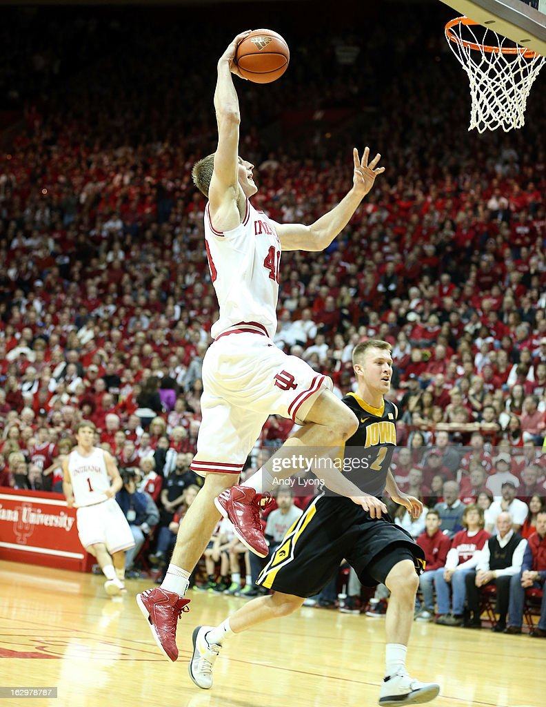 Cody Zeller #40 of the Indiana Hoosiers dunks the ball during the game against the Iowa Hawkeyes at Assembly Hall on March 2, 2013 in Bloomington, Indiana.
