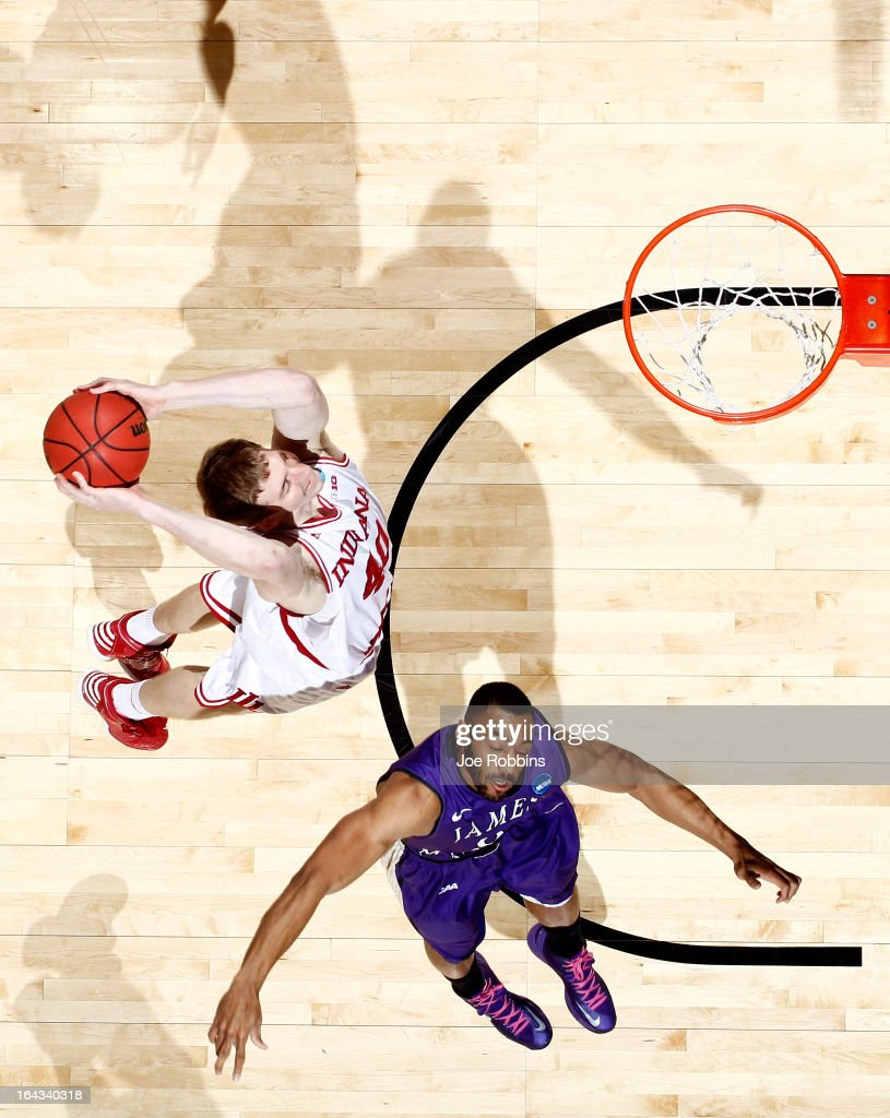 Cody Zeller #40 of the Indiana Hoosiers goes up for a dunk against A.J. Davis #0 of the James Madison Dukes in the second half during the second round of the 2013 NCAA Men's Basketball Tournament at UD Arena on March 22, 2013 in Dayton, Ohio.