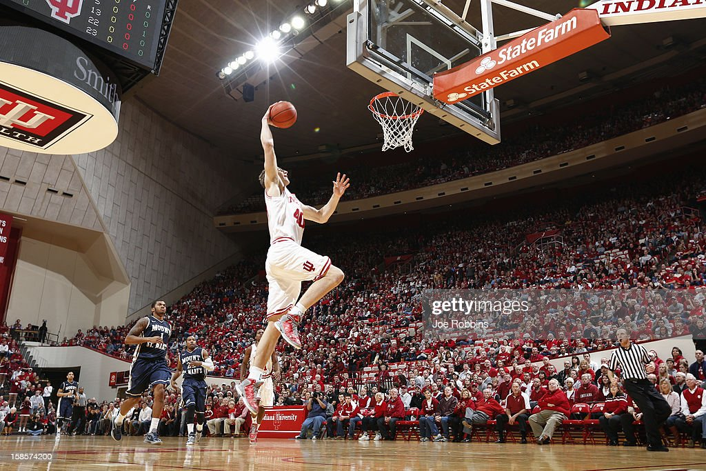<a gi-track='captionPersonalityLinkClicked' href=/galleries/search?phrase=Cody+Zeller&family=editorial&specificpeople=7621233 ng-click='$event.stopPropagation()'>Cody Zeller</a> #40 of the Indiana Hoosiers goes up for a dunk against the Mount St. Mary's Mountaineers during the game at Assembly Hall on December 19, 2012 in Bloomington, Indiana.