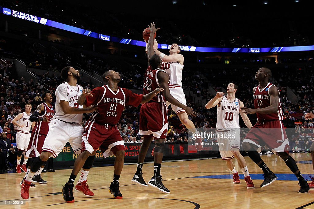 Cody Zeller #40 of the Indiana Hoosiers goes up for a shot against Hamidu Rahman #32 of the New Mexico State Aggies in the second round of the 2012 NCAA men's basketball tournament at Rose Garden Arena on March 15, 2012 in Portland, Oregon.