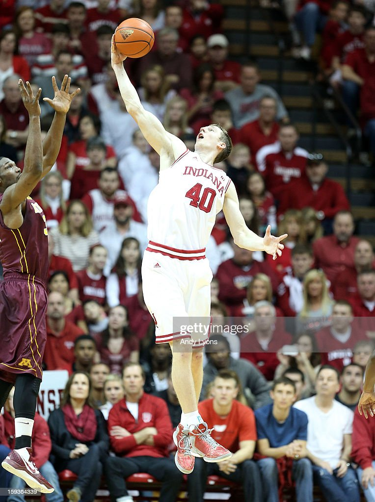 Cody Zeller #40 of the Indiana Hoosiers grabs a rebound during the Big 10 game against the Minnesota Golden Gophers at Assembly Hall on January 12, 2013 in Bloomington, Indiana.