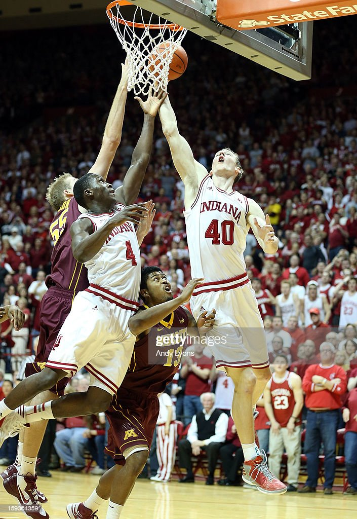 <a gi-track='captionPersonalityLinkClicked' href=/galleries/search?phrase=Cody+Zeller&family=editorial&specificpeople=7621233 ng-click='$event.stopPropagation()'>Cody Zeller</a> #40 of the Indiana Hoosiers grabs a rebound during the Big 10 game against the Minnesota Golden Gophers at Assembly Hall on January 12, 2013 in Bloomington, Indiana.