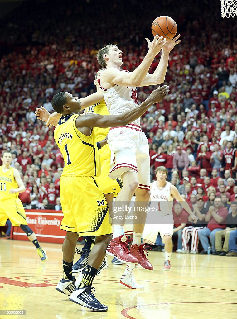 Cody Zeller #40 of the Indiana Hoosiers grabs a rebound during the game against the Michigan Wolverines at Assembly Hall on February 2, 2013 in Bloomington, Indiana.