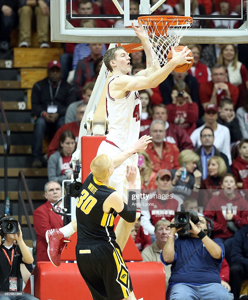 Cody Zeller #40 of the Indiana Hoosiers grabs a rebound during the game against the Iowa Hawkeyes at Assembly Hall on March 2, 2013 in Bloomington, Indiana.