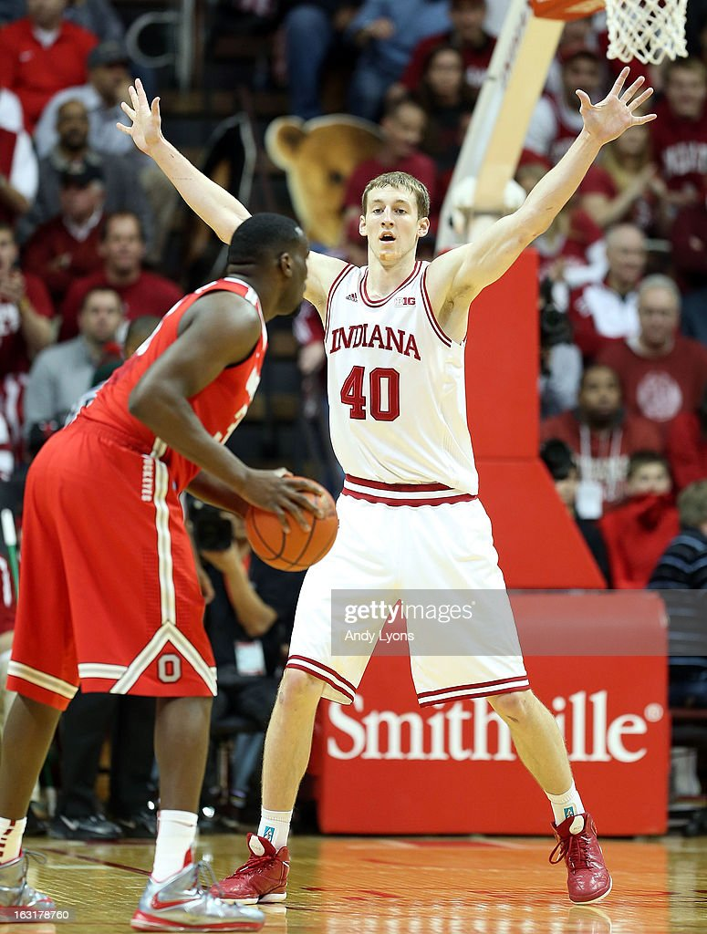 Cody Zeller #40 of the Indiana Hoosiers plays defense during the game against the Ohio State Buckeyes at Assembly Hall on March 5, 2013 in Bloomington, Indiana.