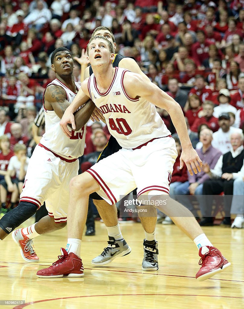 <a gi-track='captionPersonalityLinkClicked' href=/galleries/search?phrase=Cody+Zeller&family=editorial&specificpeople=7621233 ng-click='$event.stopPropagation()'>Cody Zeller</a> #40 of the Indiana Hoosiers positions himself for a rebound during the game against the Iowa Hawkeyes at Assembly Hall on March 2, 2013 in Bloomington, Indiana.