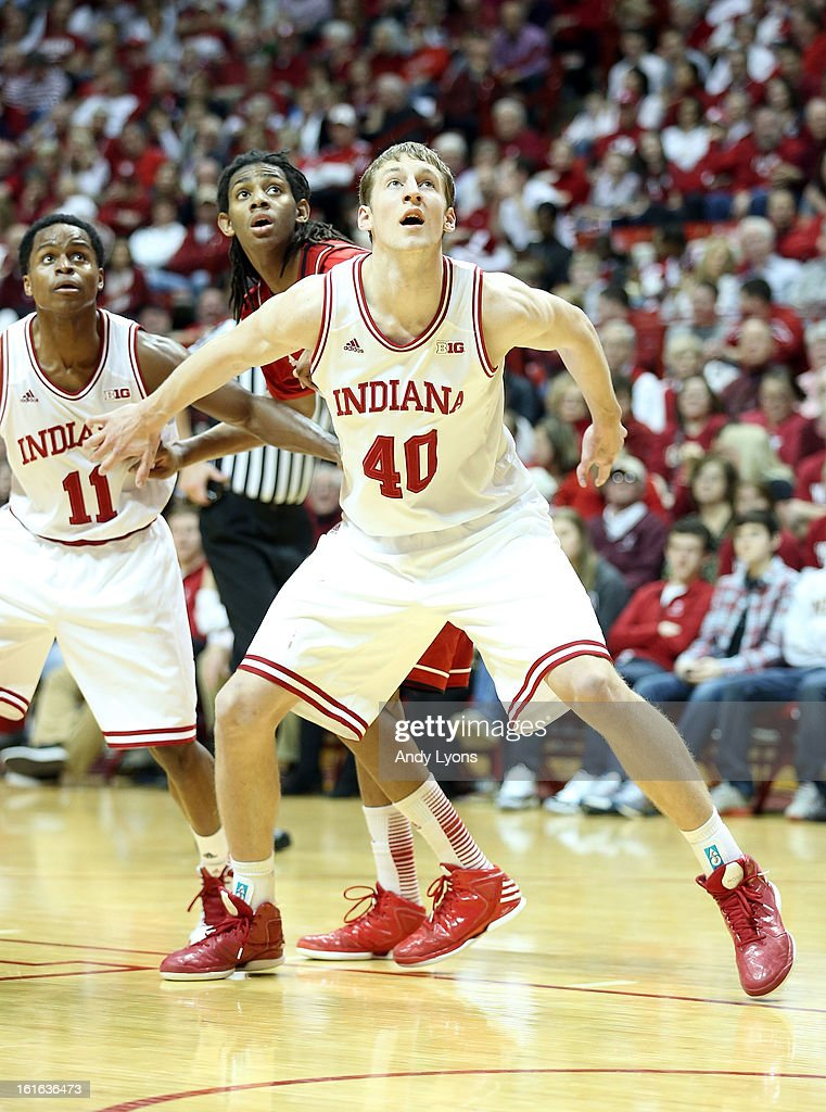 <a gi-track='captionPersonalityLinkClicked' href=/galleries/search?phrase=Cody+Zeller&family=editorial&specificpeople=7621233 ng-click='$event.stopPropagation()'>Cody Zeller</a> #40 of the Indiana Hoosiers postions himself for a rebound during the game against the Nebraska Cornhuskers at Assembly Hall on February 13, 2013 in Bloomington, Indiana.