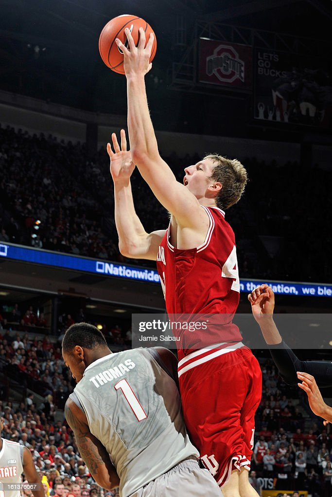 Cody Zeller #40 of the Indiana Hoosiers shoots over Deshaun Thomas #1 of the Ohio State Buckeyes in the first half on February 10, 2013 at Value City Arena in Columbus, Ohio. Indiana defeated Ohio State 81-68.