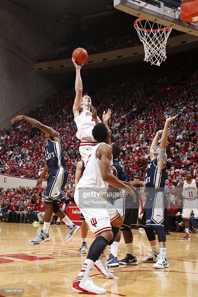<a gi-track='captionPersonalityLinkClicked' href=/galleries/search?phrase=Cody+Zeller&family=editorial&specificpeople=7621233 ng-click='$event.stopPropagation()'>Cody Zeller</a> #40 of the Indiana Hoosiers shoots the ball against the Mount St. Mary's Mountaineers during the game at Assembly Hall on December 19, 2012 in Bloomington, Indiana. The Hoosiers won 93-54.