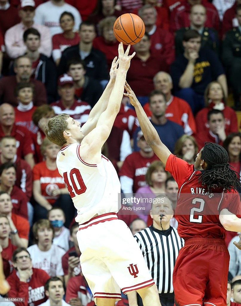 <a gi-track='captionPersonalityLinkClicked' href=/galleries/search?phrase=Cody+Zeller&family=editorial&specificpeople=7621233 ng-click='$event.stopPropagation()'>Cody Zeller</a> #40 of the Indiana Hoosiers shoots the ball during the game against the Nebraska Cornhuskers at Assembly Hall on February 13, 2013 in Bloomington, Indiana.