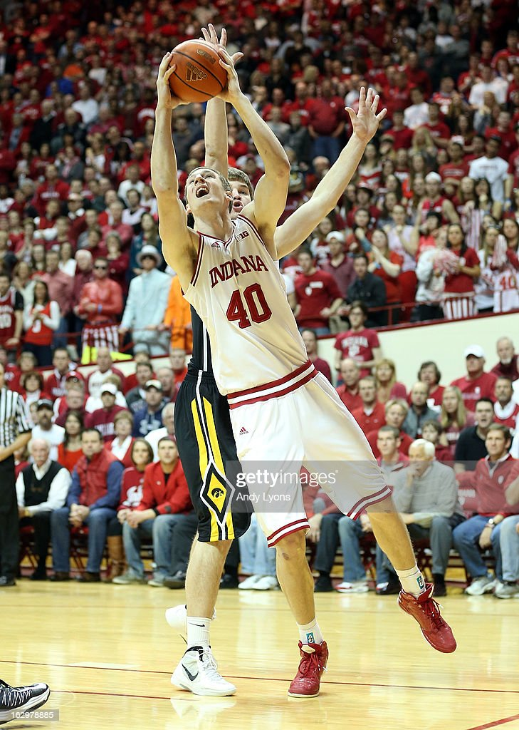 Cody Zeller #40 of the Indiana Hoosiers shoots the ball during the game against the Iowa Hawkeyes at Assembly Hall on March 2, 2013 in Bloomington, Indiana.