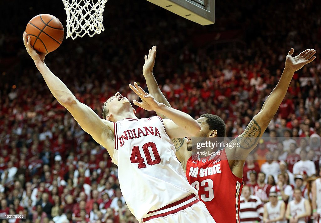 Cody Zeller #40 of the Indiana Hoosiers shoots the ball during the game against the Ohio State Buckeyes at Assembly Hall on March 5, 2013 in Bloomington, Indiana.