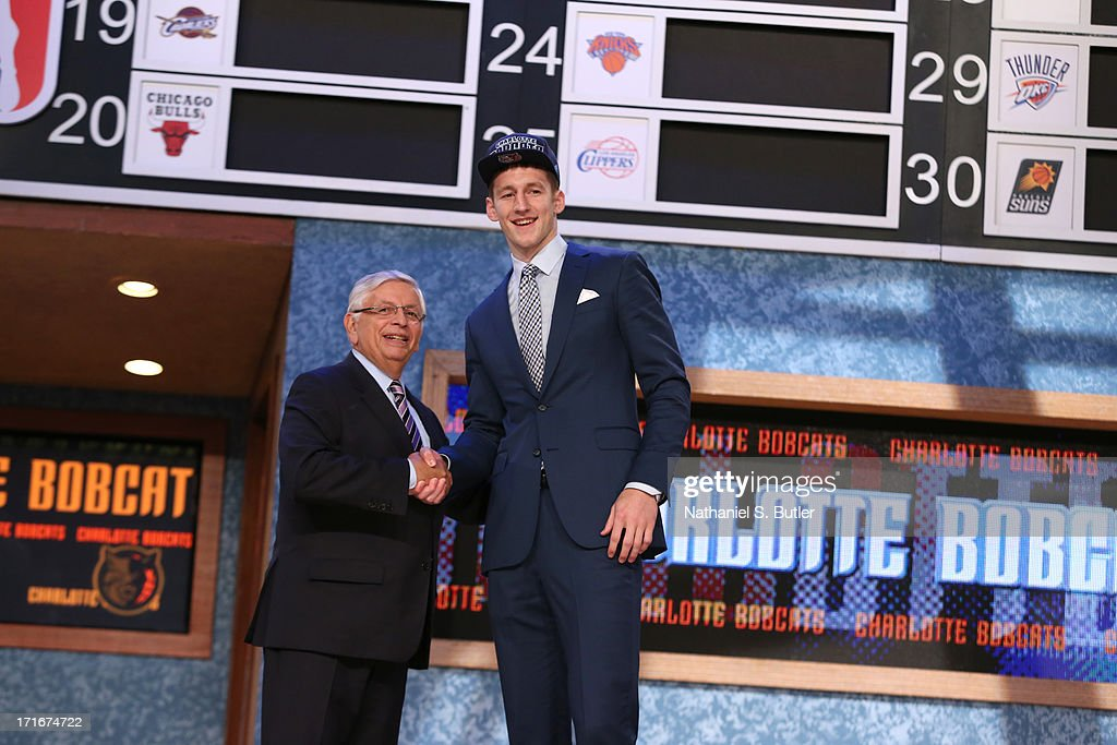 Cody Zeller shakes hands with NBA Commissioner, David Stern after being selected number four overall by the Charlotte Bobcats during the 2013 NBA Draft on June 27, 2013 at Barclays Center in Brooklyn, New York.
