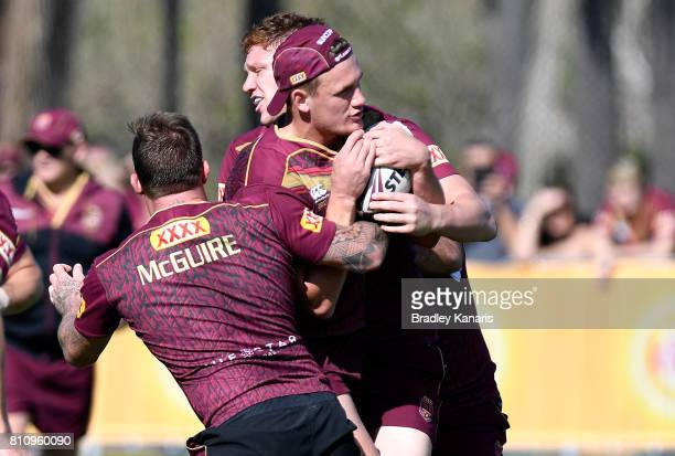 Coen Hess attempts to break through the defence during a Queensland Maroons State of Origin training session at Sanctuary Cove on July 9 2017 in...