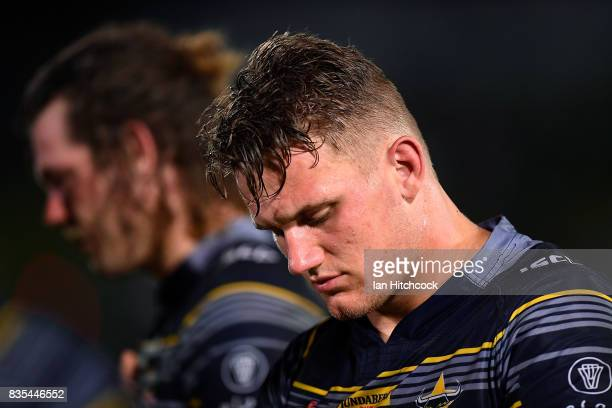 Coen Hess of the Cowboys looks dejected after losing the round 24 NRL match between the North Queensland Cowboys and the Cronulla Sharks at...