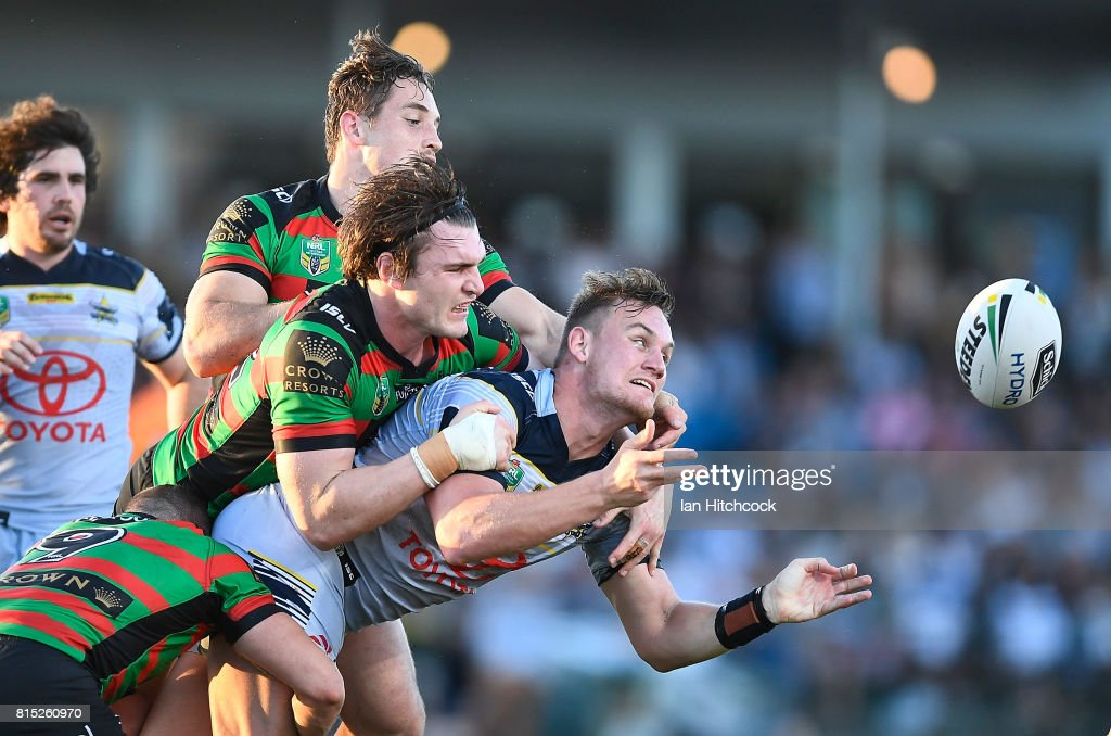 Coen Hess of the Cowboys makes an offload during the round 19 NRL match between the South Sydney Rabbitohs and the North Queensland Cowboys at Barlow Park on July 16, 2017 in Cairns, Australia.
