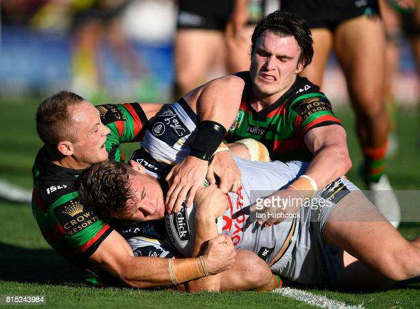 Coen Hess of the Cowboys scores a try during the round 19 NRL match between the South Sydney Rabbitohs and the North Queensland Cowboys at Barlow...