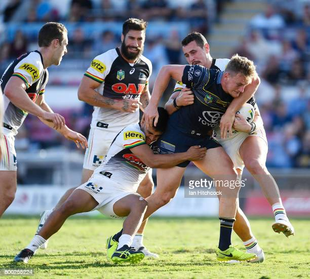 Coen Hess of the Cowboys surges towards to the tryline during the round 16 NRL match between the North Queensland Cowboys and the Penrith Panthers at...