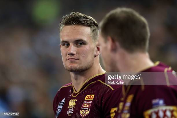 Coen Hess of the Maroons looks on during game two of the State Of Origin series between the New South Wales Blues and the Queensland Maroons at ANZ...