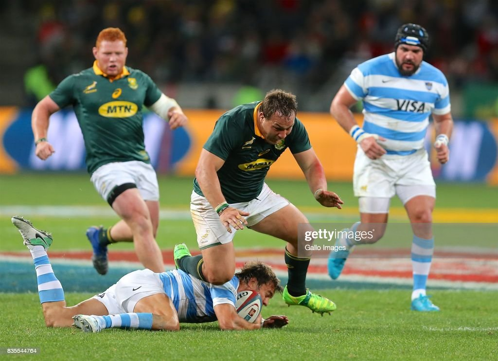 Coenie Oosthuizen of South Africa during the Rugby Championship match between South Africa and Argentina at Nelson Mandela Bay Stadium on August 19, 2017 in Port Elizabeth, South Africa.