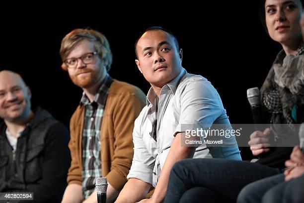 Coexecutive producer Casey Willis animation director Bryan Fordney illustration director Jason Li and background director Kim Feigenbaum speak during...